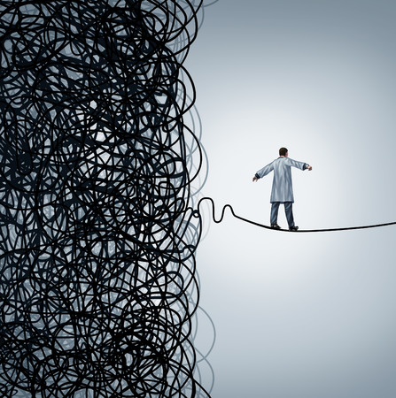 crisis management: Medical crisis management with a doctor walking on a straight line out of a confused mess of tangled wires as a health care concept  for a hospital manager working to optimicze efficiency for patient wellbeing or finding a cure to disease. Stock Photo