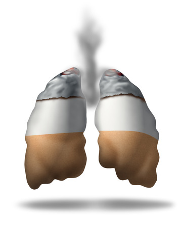 quiting: Cigarette lungs concept as a symbol of smoking health effects as a medical metaphor for lung cancer from toxic smoke exposure from a smoker or secondhand fumes or the challenges of quiting.