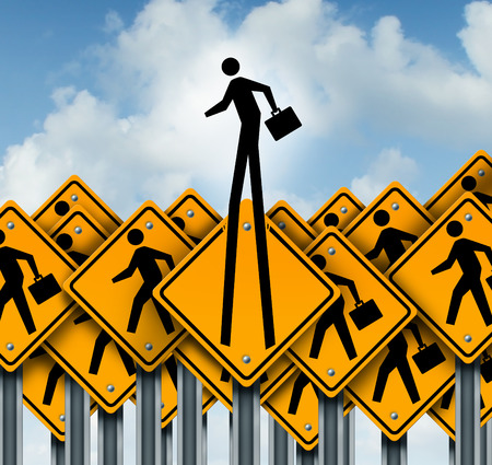 expertise: Career success and climb to the top concept as a group of worker crossing traffic signs with one businessman icon breaking out  from the pack as a symbol of leadership and out of the box innovation thinking.