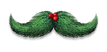 コンセプト: 冬の口ひげの概念の装飾成っているマツ針および白い背景の上のヒイラギの果実休日の楽しさとユーモアのためのクリスマスや新年の記号として。 写真素材