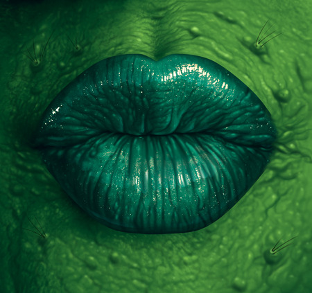 Witch symbol and wicked witchcraft black magic concept as a close up of a wrinkled green skinned sexy sorceress lips as a fantasy fiction or fairy tale  halloween character.