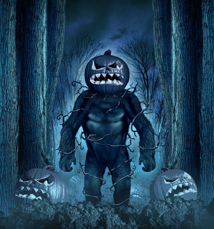 cursed: Halloween evil monster concept as a creepy creature with a scary pumkin head in a spooky night forest graveyard of jackolanterns.