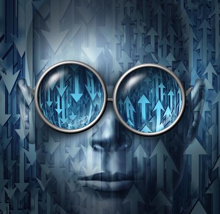 金融アナリストと予測と経済の方向を分析のためのビジョンを持つためのメタファーとして、上下矢印を反射している眼鏡を着て人間の顔と株式ブ