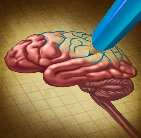 Repairing the brain and restoring lost memory medical concept as a human thinking organ with a missing portion being redrawn with a blue pencil as a symbol and ?metaphor for doctor care and research in neurology or brainwashing. 스톡 콘텐츠