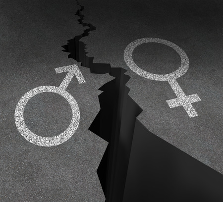 sex discrimination: Gender gap and sex inequality concept  as a male and female symbol painted on an asphalt road that is cracked in two as a metaphor for pay or wages inequity or divorce.