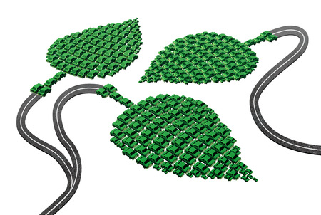 Green transport concept as a group of cars and automobiles in a leaf shape connected with roads as a metaphor for alternative fuel as electric power biofuel or fuel cell hydrogen as a symbol for the future of environmentaly friendly transportation  soluti photo