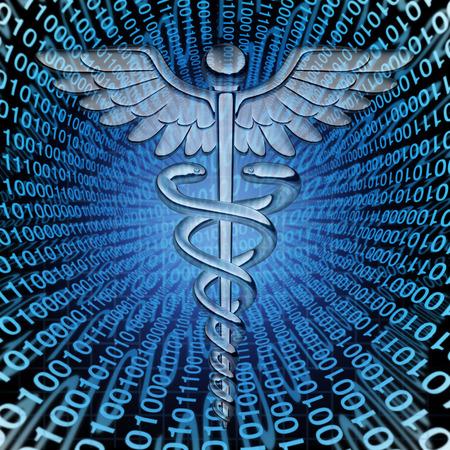 codigo binario: Los datos m�dicos y el futuro del cuidado de la salud la tecnolog�a de bases de datos concepto como un s�mbolo de la medicina caduceo en un fondo del c�digo binario como un icono de paciente gesti�n de informaci�n hospitalaria.