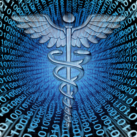 medical records: Medical data and the future of health care databases technology concept as a caduceus medicine symbol on a background of binary code as an icon of  hospital patient information management.
