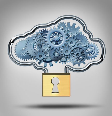 Cloud security concept and internet data protection symbol as a three dimensional lock providing protection to a group of gears shaped in a virtual server icon.