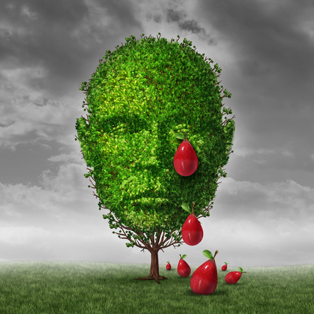 Depression and mental health concept as a tree shaped as a human head that is crying fruit shaped as tear drops as a metaphor for being depressed postpartum or sadness in the mature age. Stock Photo