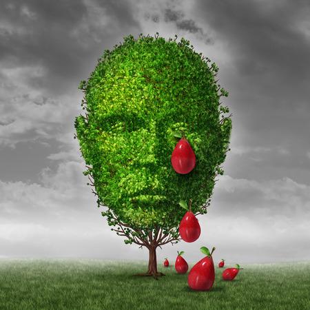 hormonas: La depresión y el concepto de salud mental como un árbol en forma de una cabeza humana que se llorando en forma de lágrima fruta gotas como una metáfora de estar deprimido o tristeza posparto en la edad madura. Foto de archivo
