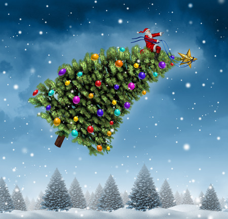 winter time: Winter ride on a snow background concept with a flying tree being piloted by santa claus on a cold blue forest of pine trees on a snowing holiday night sky as a fun symbol of Christmas season and festive celebration time.
