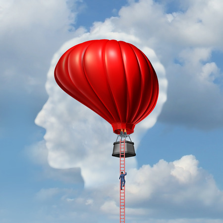 Examining the brain medical concept or business aspiration metaphor as a man climbing or descending a ladder to an air balloon shaped as a human brain as a symbol for the freedom of intelligent thinking. photo