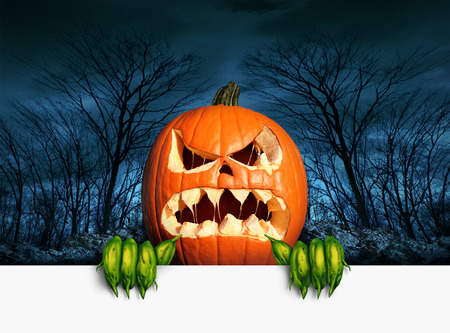 Demon pumpkin sign as an angry scary orange  jack o lantern in a haunted dark autumn forest holding a blank sign with copy space as a symbol of a fun frightful seasonal holiday concept.