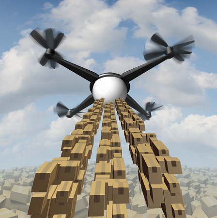 corrugated box: Drone cargo delivery concept  as an unmanned quadrocopter shipping packages and freight as a symbol of the future of courier service.