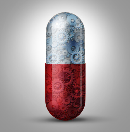 technologie: Budoucnost medicíny a bioinženýrství koncept jako zázračnou pilulku kapsle s převody a náklady na prodané zboží uvnitř jako lékařský symbol pro nano robotické technologii vyléčení biologické nemoci a prodlužuje lidský životnost díky inovativní vědy.
