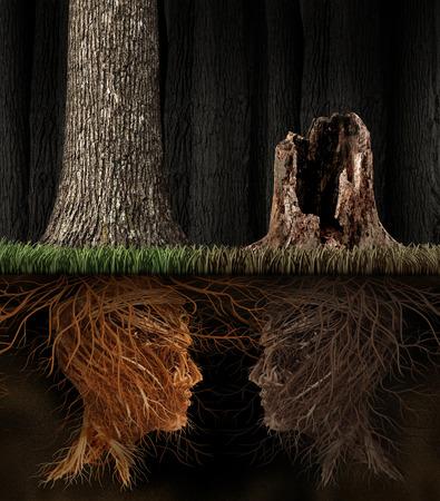 Smutek i koncepcja Grieving jak dwa drzewa z korzeniami w kształcie ludzkich głów z jednym martwym drzewie w lesie jako symbol utraty i metafora duchowości w żałobie kogoś bliskiego, który zmarł.