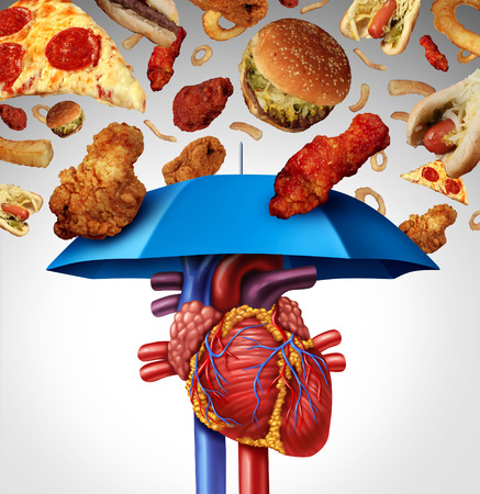 illness: Heart protection medical concept as a symbol to avoid a clogged artery and atherosclerosis disease  as a blue umbrella protecting the cardiovascular organ from unhealthy food to stop plaque buildup. Stock Photo