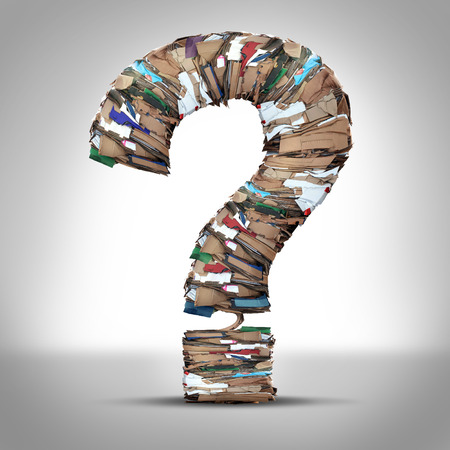 environmental issues: Recycle Cardboard Paper Questions and recycling cardboard packaging concept with stacks of compressed corrugated paper garbage shaped as a question mark as a symbol for conservation and environmental technology business issues.