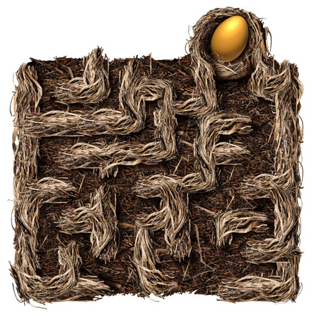 Retirement savings strategy nest egg symbol as a financial planning business concept with a bird nest shaped as a maze or labyrinth with a golden egg as the prize on a white background.