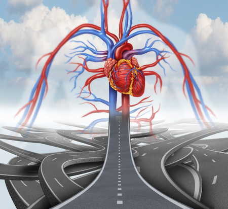 Road to health medical health care concept as a group of tangled roads with one straight path leading to a human cardiovascular heart system in the sky as a symbol for rehabilitation and habits for living a healthy lifestyle with nutrition and fitness. photo