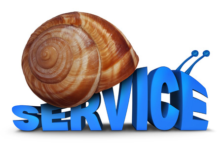 lagging: Service Problem concept as three dimensional text shaped as a snail with a shell as a symbol for poor slow customer care and lacking motivation  on a white background.