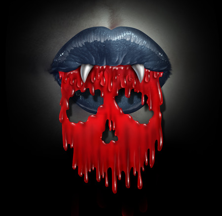 Vampire blood concept as a horror symbol of  bloodthirsty demon lips spilling red liquid shaped as a skull of death as a metaphor for horror and evil during Halloween. photo