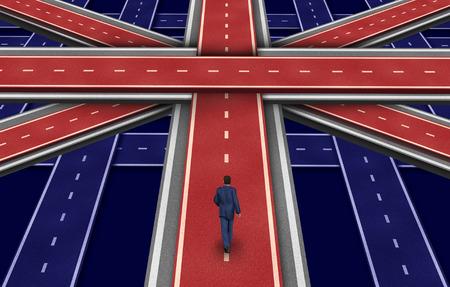 great britain: Plan britannique et l'avenir de la Grande-Bretagne, y compris l'Angleterre Ecosse et Pays de Galles en tant que concept de la direction de l'�conomie britannique et le chemin �conomique du Royaume-Uni comme un homme d'affaires marchant sur un groupe de forme comme un drapeau routes. Banque d'images