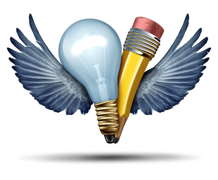 teaming: Creativity freedom concept as a lightbulb and pencil in a joint effort flying up with bird wings as a metaphor and strategic symbol for creative partnership collaboration as a business leadership success icon for teaming up in cooperation.