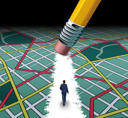 clutter: Innovative path and road to success concept as a businessman walking through a confusing highway map with a pencil eraser clearing a pathway to career or life success by cutting through the clutter. Stock Photo
