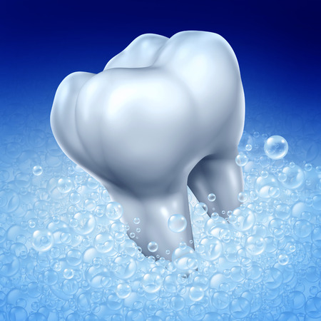 Brushing teeth hygiene concept as a three dimensional human molar tooth being washed with toothpaste soap bubbles for a whitening and flouride oral treatment as a dentistry symbol of a healthy dental habit. photo