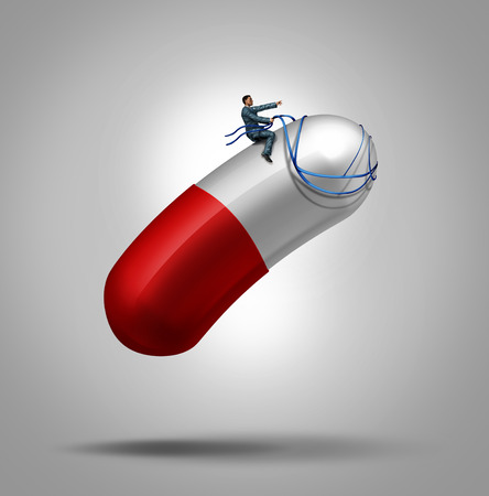 prescription drugs: Medication control health care concept as a patient riding and piloting a giant capsule pill using a harness as a metaphor for controlling the dose in medical therapy or avoiding prescription drug abuse leading to addiction.