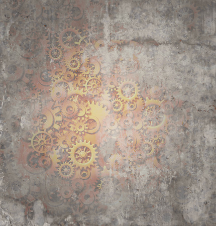 industrialized: Steampunk grunge background as a rustic texture science fiction concept made of dirty metal copper gears and cogs as a technology symbol of futuristicscifi theme machine with copy space.