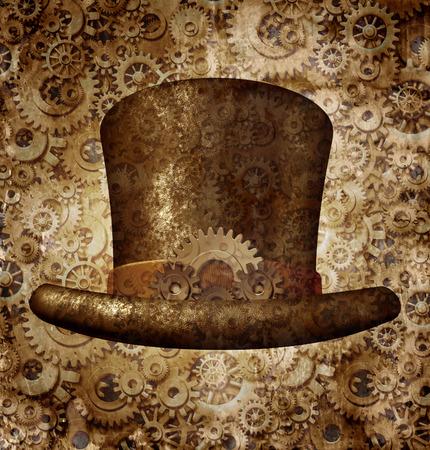 Steampunk hoge hoed als een science fiction-concept gemaakt van metaal koper tandwielen en radertjes het dragen van een historische Victoriaanse retro hoofd accessoire als een technologie symbool van futuristische fictieve machine hybride. Stockfoto