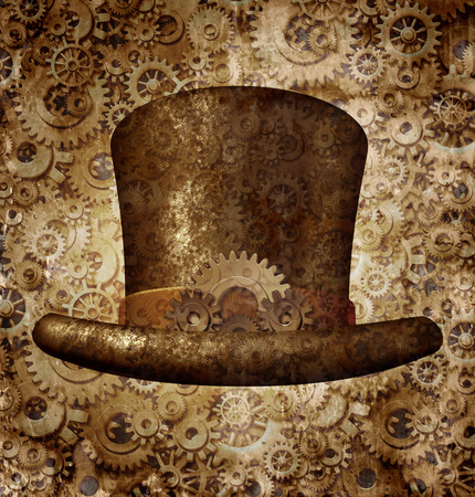 steam engines: Steampunk top hat as a science fiction concept made of metal copper gears and cogs wearing a historical victorian retro head accessory as a technology symbol of futuristic fictional machine hybrid.
