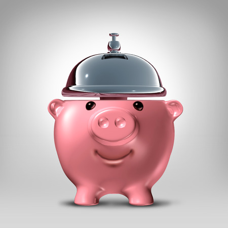 servicing: Banking service concept as a front view piggy bank shaped as a hospitality servicing bell as a symbol for good banking customer service serving financial clients with savings advice and loan solutions. Stock Photo