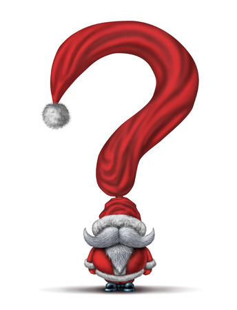 buying questions: Christmas questions and holiday gift buying guide symbol as a santa clause character with a red winter hat shaped as a question mark as a concept for seasonal stress and guidance.