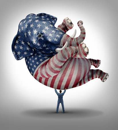 congressman: American republican vote election leadership symbol as an elephant with a painted flag of the United States with a person lifting up the animal as an icon of the conservative values in a voting campaign for president senator or congressman.