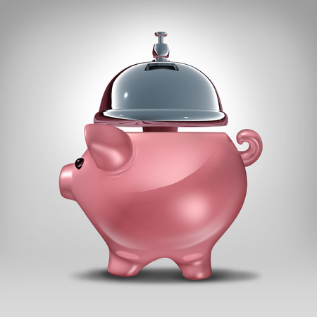 servicing: Bank service concept as a piggy bank shaped as a hospitality servicing bell as a symbol for good banking customer service serving financial clients with savings advice and loan solutions. Stock Photo