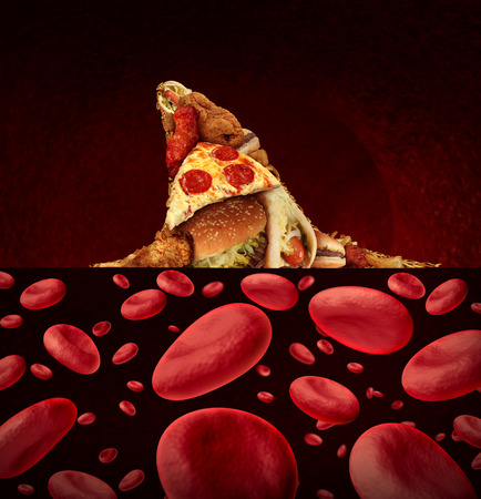 dorsal: Blood disease risk medical concept as a group of greasy junk food shaped as the dorsal fin of a dangerous shark swimming in a pool of blood cells as a symbol of the hazards to the coronary and cardiovascular system by high cholesterol and unhealthy diet.