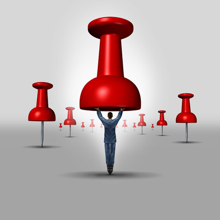 financial guidance: Business objective concept as a thumbtack or pushpin office icon with a businessman as the pin representing a target metaphor for investment and financial guidance excellence.