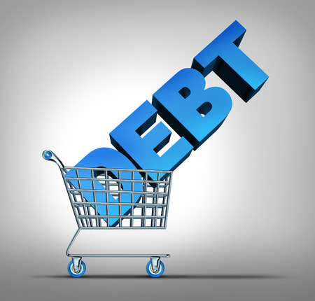 spending: Consumer debt financial concept as a shopping cart dragging a three dimensional text as a credit problem symbol for challenges managing spending at retail stores. Stock Photo