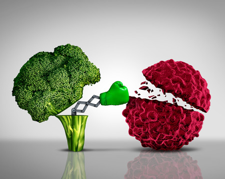 cancer research: Health food and Cancer fighting foods nutrition concept.