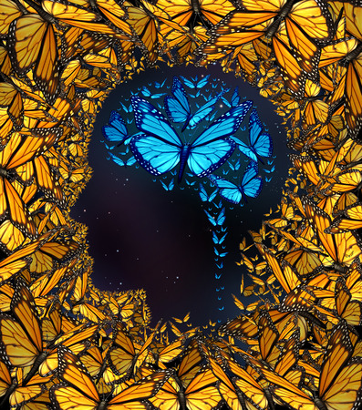 Inspiration concept and thinking potential metaphor as a group of butterflies in the shape of a human face and brain. 免版税图像