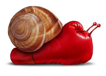 business competition: Business patience noncompetitive crisis and inferior competitive skill as a red boxing glove shaped as a snail in a unambitious metaphor for lack of innovation and weak sales success due to sluggish fighting spirit or long term strategy.