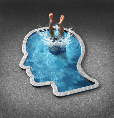 discover: Deep thinking and soul searching concept with a person diving into a swimming pool shaped as a human face as a symbol of self examination and mental health issues related to inner feelings and emotions.