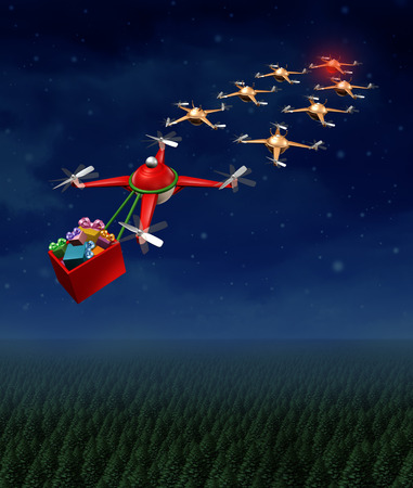 santaclause: Drone christmas sled concept as group of organized drones in a reindeer sleigh formation with a santaclause flying quadrocopter delivering gifts.