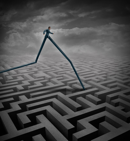 transcend: Fast track business concept as a businessperson walking over a maze or labyrinth with the advantage of long legs as a metaphor and symbol to excell and rise above an obstacle and findina a solution by adapting to the environment.