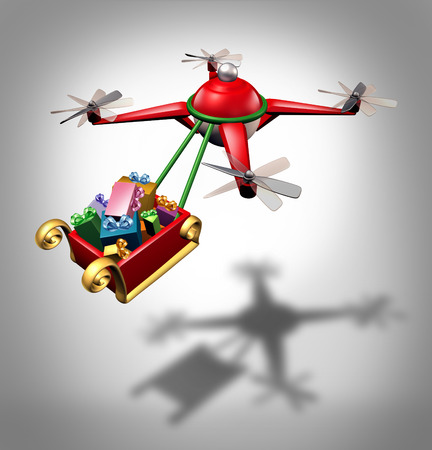 santaclause: Drone holiday gifts delivery as a christmas sled concept transporting presents with a santa clause flying quadrocopter delivering cargo as a symbol of new transport technology.
