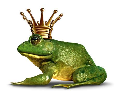 prin: Rana concepto de vista lateral príncipe con corona de oro que representa el símbolo de cuento de hadas de cambio y la transformación de un anfibio de la realeza.